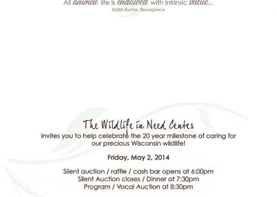Wild Life In Need Banquet Invite - Inside